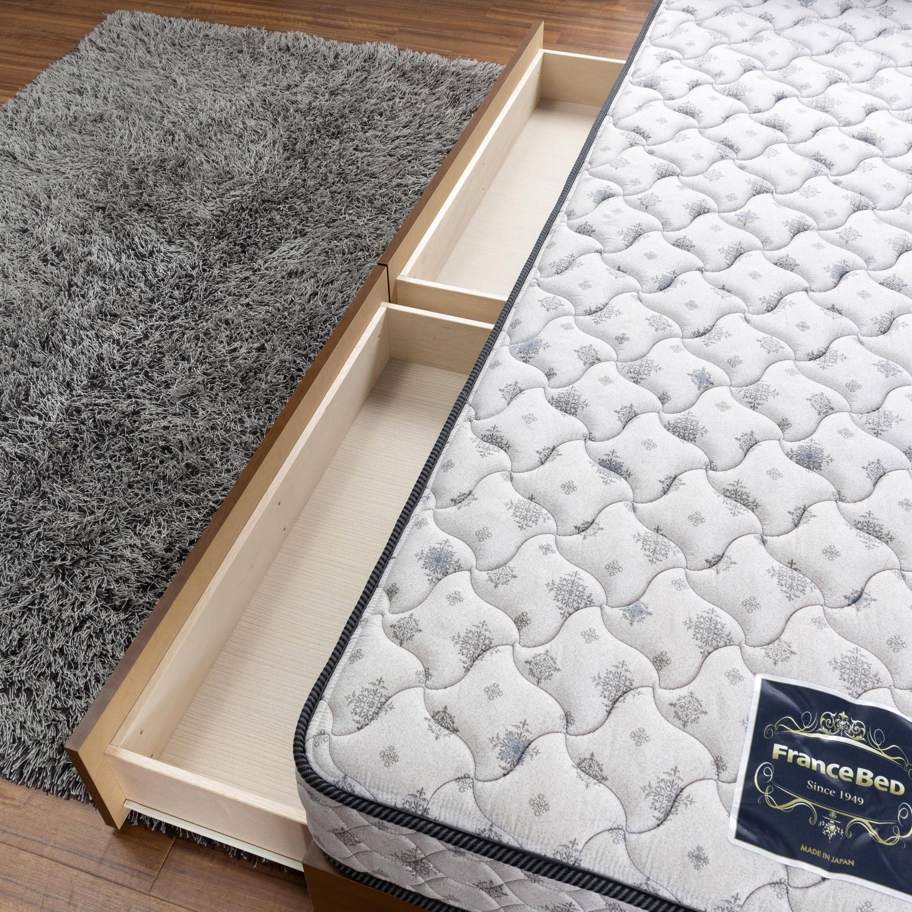 シングルベッド コスモプラス(ホワイトオーク)/シルバー800DX3(BL):引出しは箱組構造