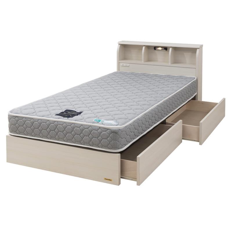 シングルベッド コスモプラス(白木目)/シルバー800DX3(GY):安心の国産ベッド