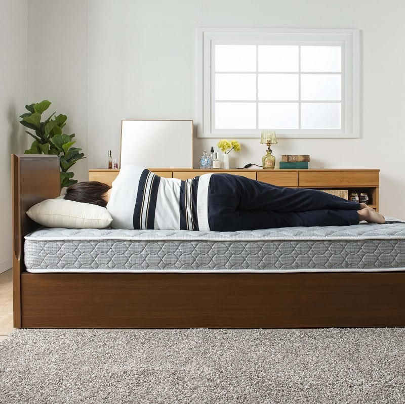 シングルベッド コスモプラス(白木目)/シルバー800DX3(GY):しっかりとした安定感のある寝心地