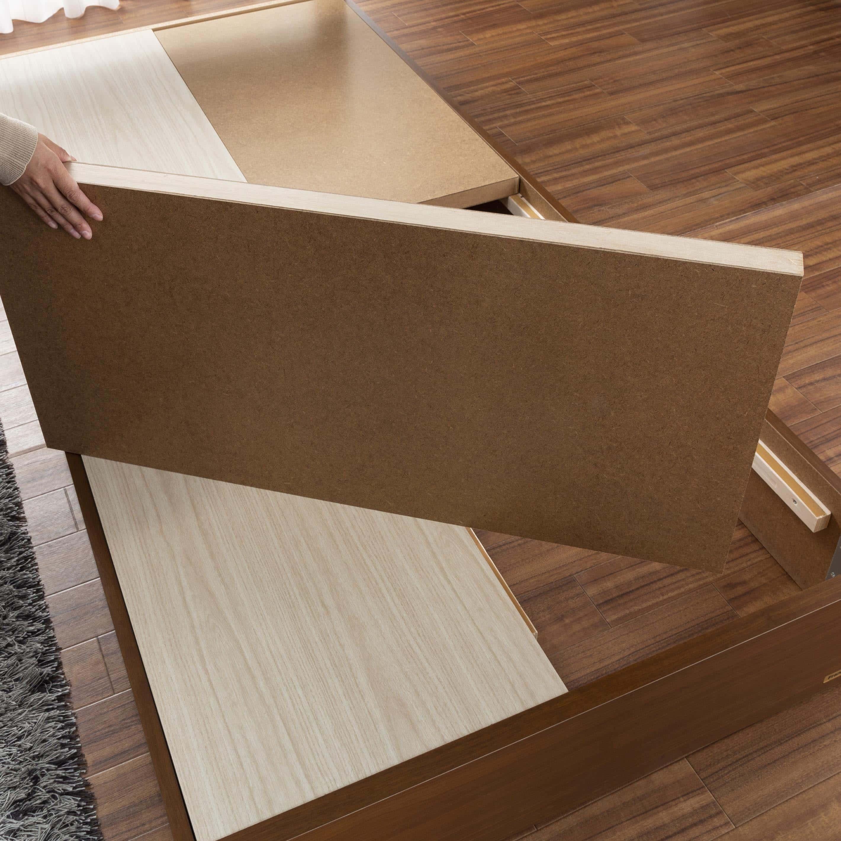 シングルベッド コスモプラス(白木目)/シルバー800DX3(GY):しっかり安定感のある床板