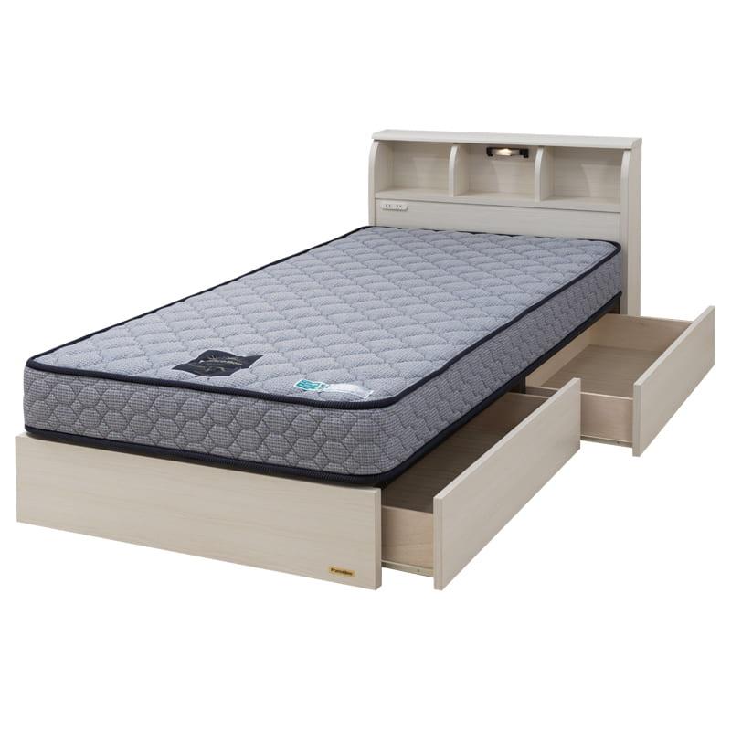 シングルベッド コスモプラス/ZTゼウス(ホワイト):安心の国産ベッド ※画像のマットレスは異なります