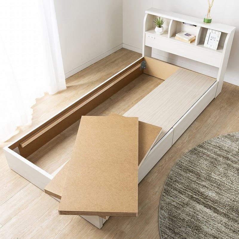 シングルベッド コスモプラス/ZTゼウス(ホワイトオーク):フラット収納で引出しの反対側も収納できる