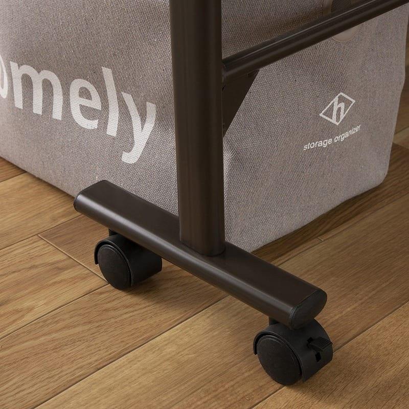 収納式桐すのこベッド AX−BF1006:キャスター付きで移動も簡単