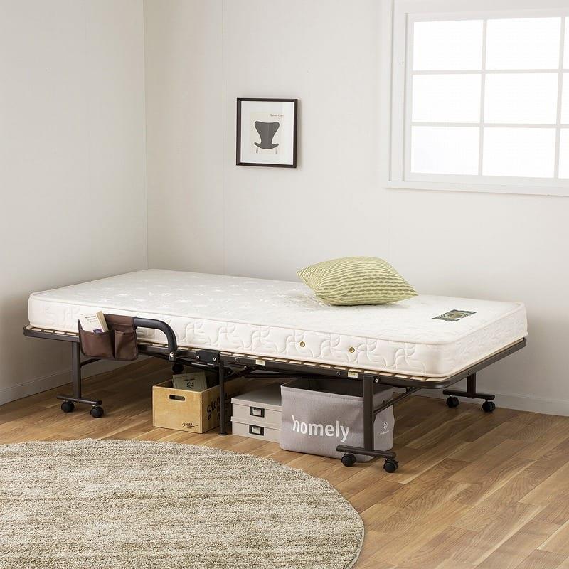 収納式桐すのこベッド AX−BF1006:布団やマットレスを乗せて使えます。