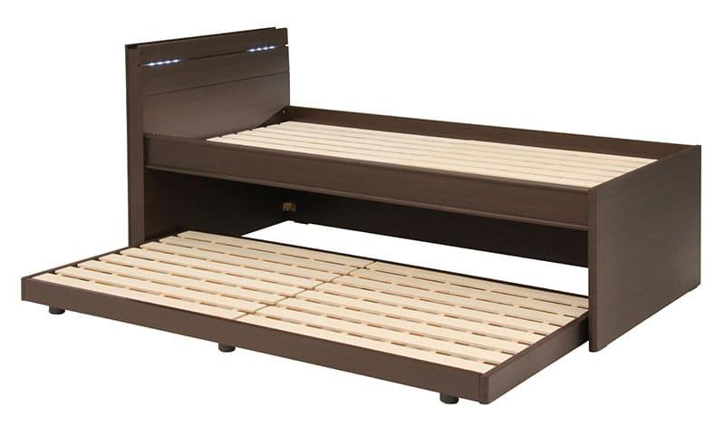 スライドベッドフレーム コーラル 上・下段セット(DBR):コンパクト2段ベッド