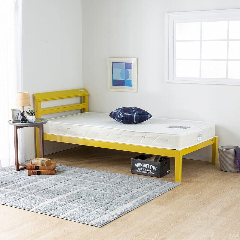 シングルベッド ミューズ/ルコル:シンプルで個性的なカラーのスチールベッド