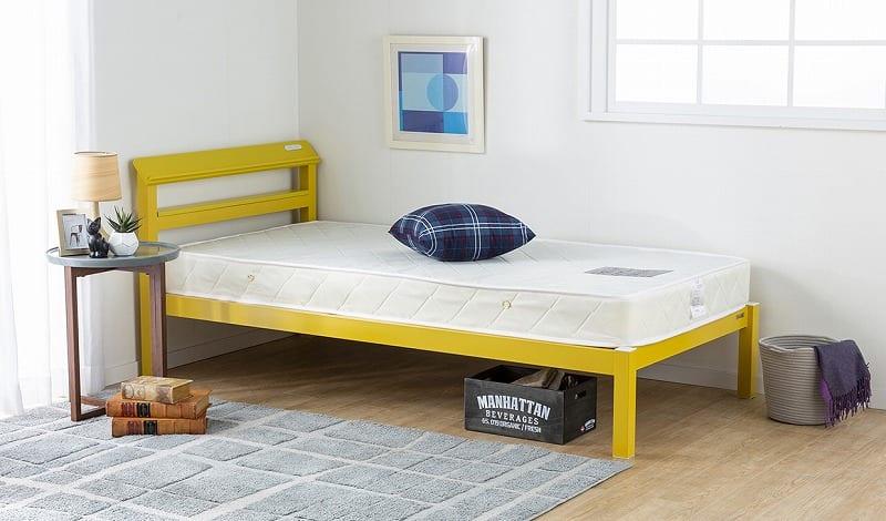 シングルフレーム ルコル(マットレス別売):シンプルで個性的なカラーのスチールベッド