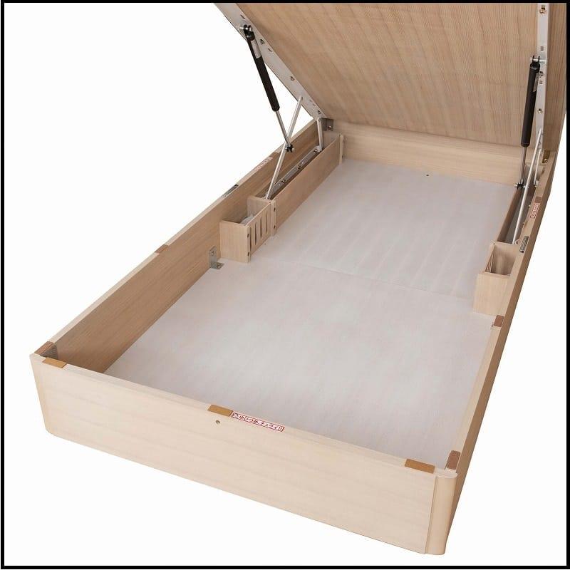 シングルベッドフレーム スピーク2 フラット・深引出しDBR D1051:大きな物も収納できる、リフトアップタイプ