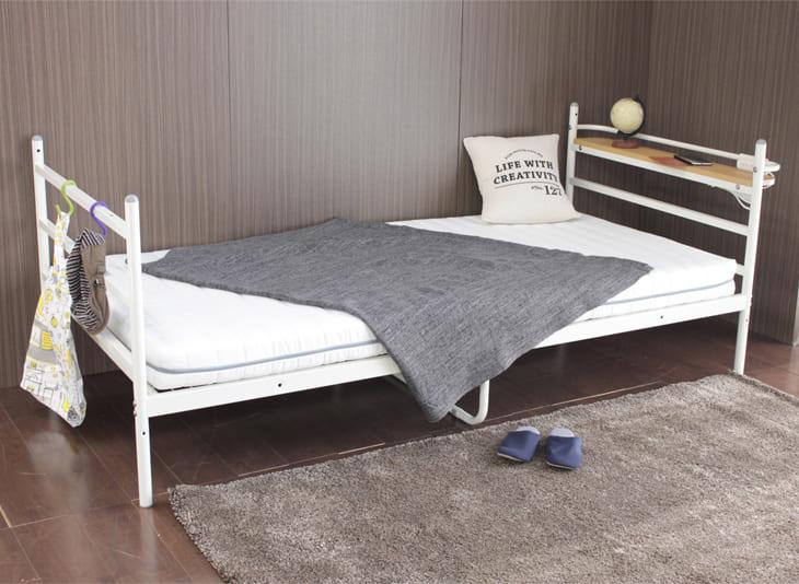 シングルサイズ デスク付きベッド KBT−050(WH) ※マットレス別売