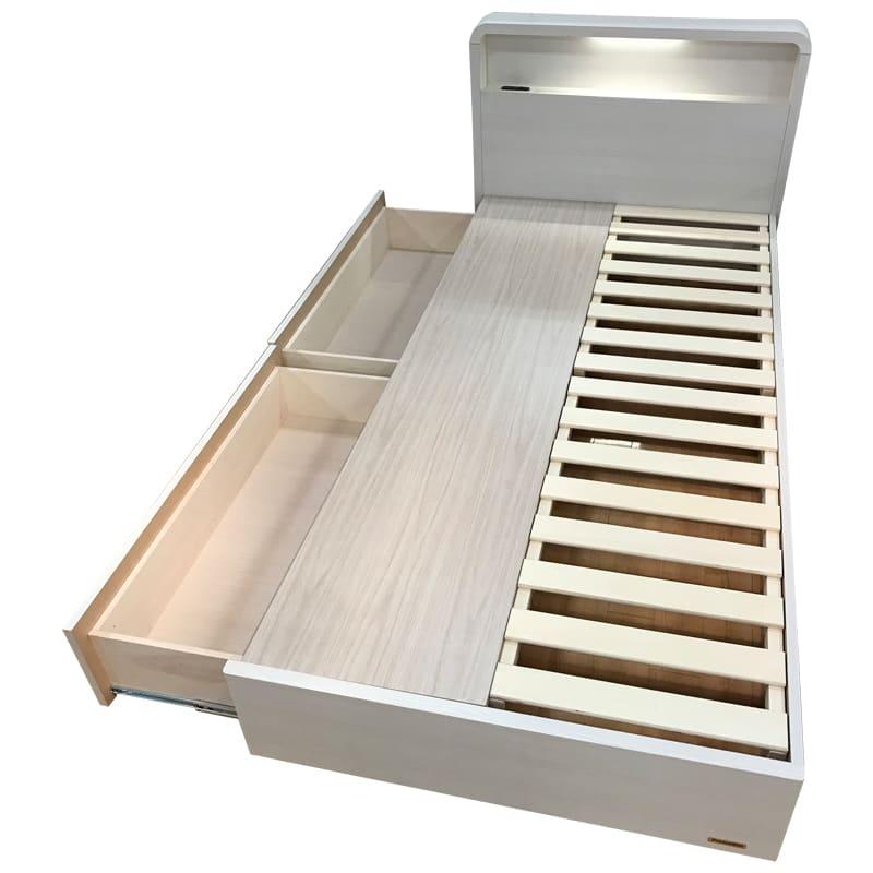 セミダブルフレーム スノーヴァ 260引付 ホワイト:《キャビネットデザインのベッドフレーム「スノーヴァ」》