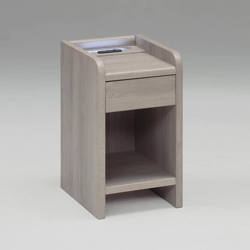 ナイトテーブル NT508 グレージュ:◆引き出しが付いた収納に便利なナイトテーブル
