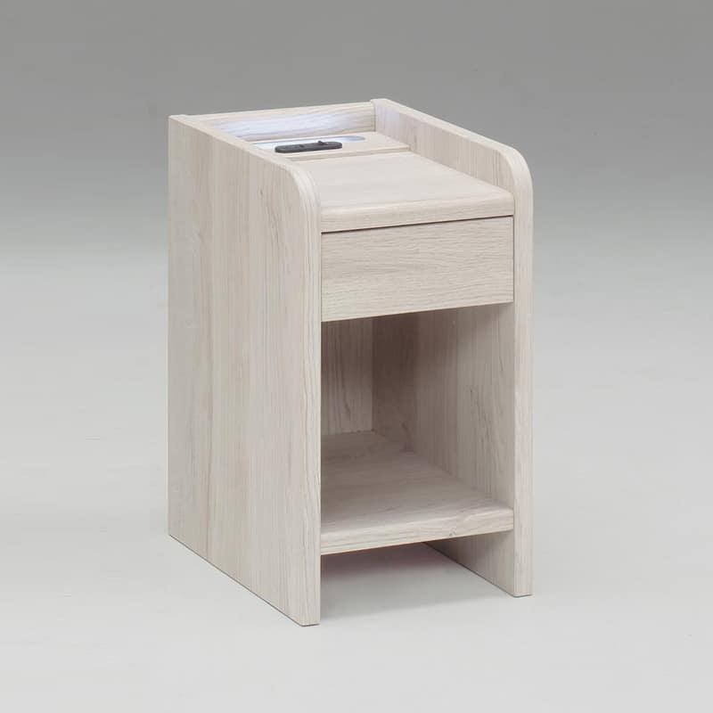 ナイトテーブル NT508 ライトグレー:◆引き出しが付いた収納に便利なナイトテーブル