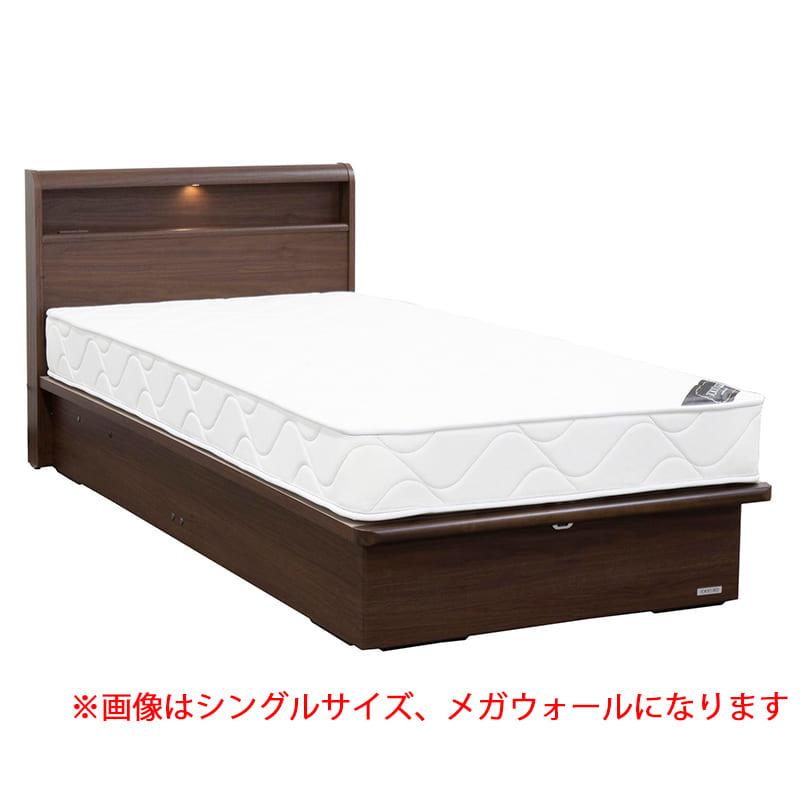 セミシングル(SS)ショートベッドフレーム スリミニ�UCリフトメガ(キャビネット/床板高26cm)ウォールナット