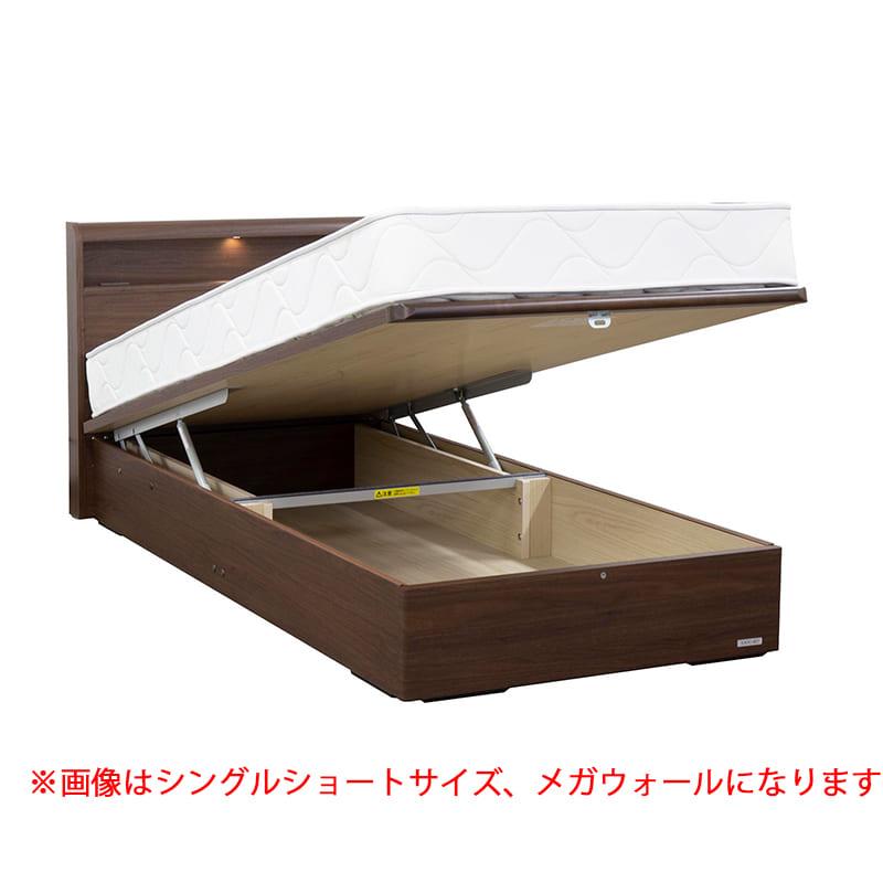 ダブル(D)ショートベッドフレーム スリミニ�UCリフトギガ(キャビネット/床板高33.5cm)ウォールナット