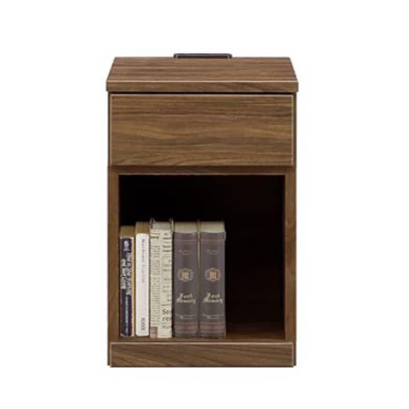 ナイトテーブル ラップ32オープン BR:《シンプルデザインのナイトテーブル》※本はイメージです。