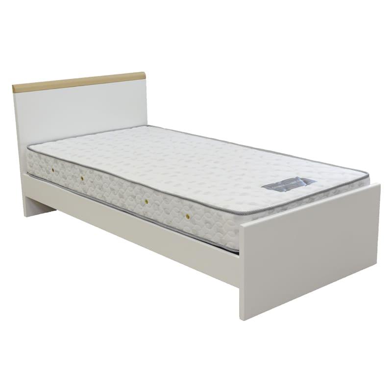 シングルベッド フルーア/A−1000 WH:◆高さ違いのおしゃれな棚付きの薄型ヘッドボード(奥行10cm)。