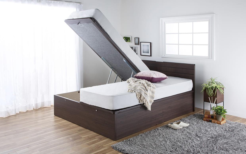 クィーン2ベッド e tanto Bフロント 40H(MEW)/ペニーセーバー 251(マットレス2枚タイプ)BK:隠し収納付きの便利ベッド