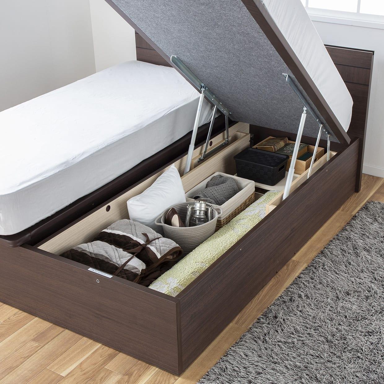 クィーン2ベッド e tanto Bフロント 40H(MEW)/ペニーセーバー 251(マットレス2枚タイプ)BK:便利な床下収納機能付き