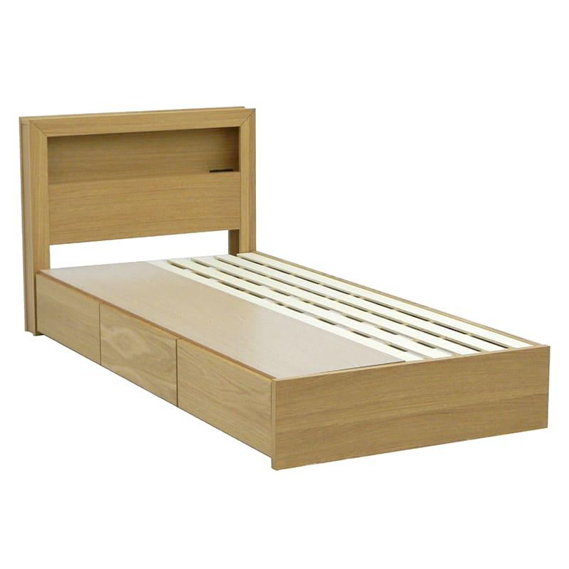 シングルフレーム カステロ 宮付引付 NA:◆オーク材の突板を使用した、木目がおしゃれなベッドフレームです。
