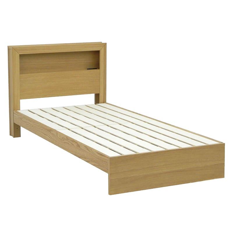 シングルフレーム カステロ 宮付引無 NA:◆オーク材の突板を使用した、木目がおしゃれなベッドフレームです。
