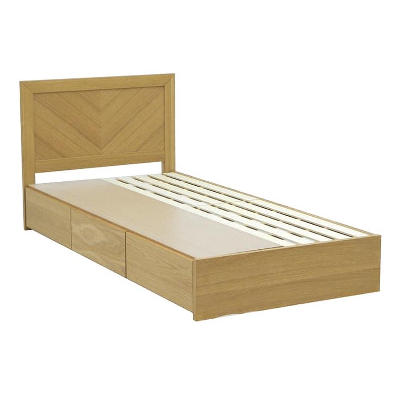 シングルフレーム カステロ フラット引付 NA:◆オーク材の突板を使用した、木目がおしゃれなベッドフレームです。