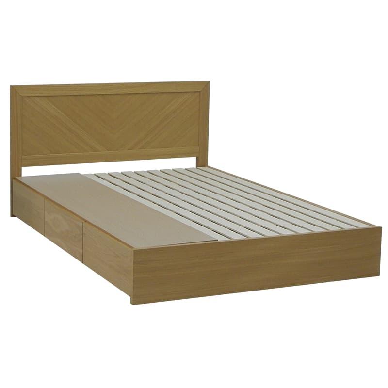 ダブルフレーム カステロ フラット引付 NA:◆オーク材の突板を使用した、木目がおしゃれなベッドフレームです。