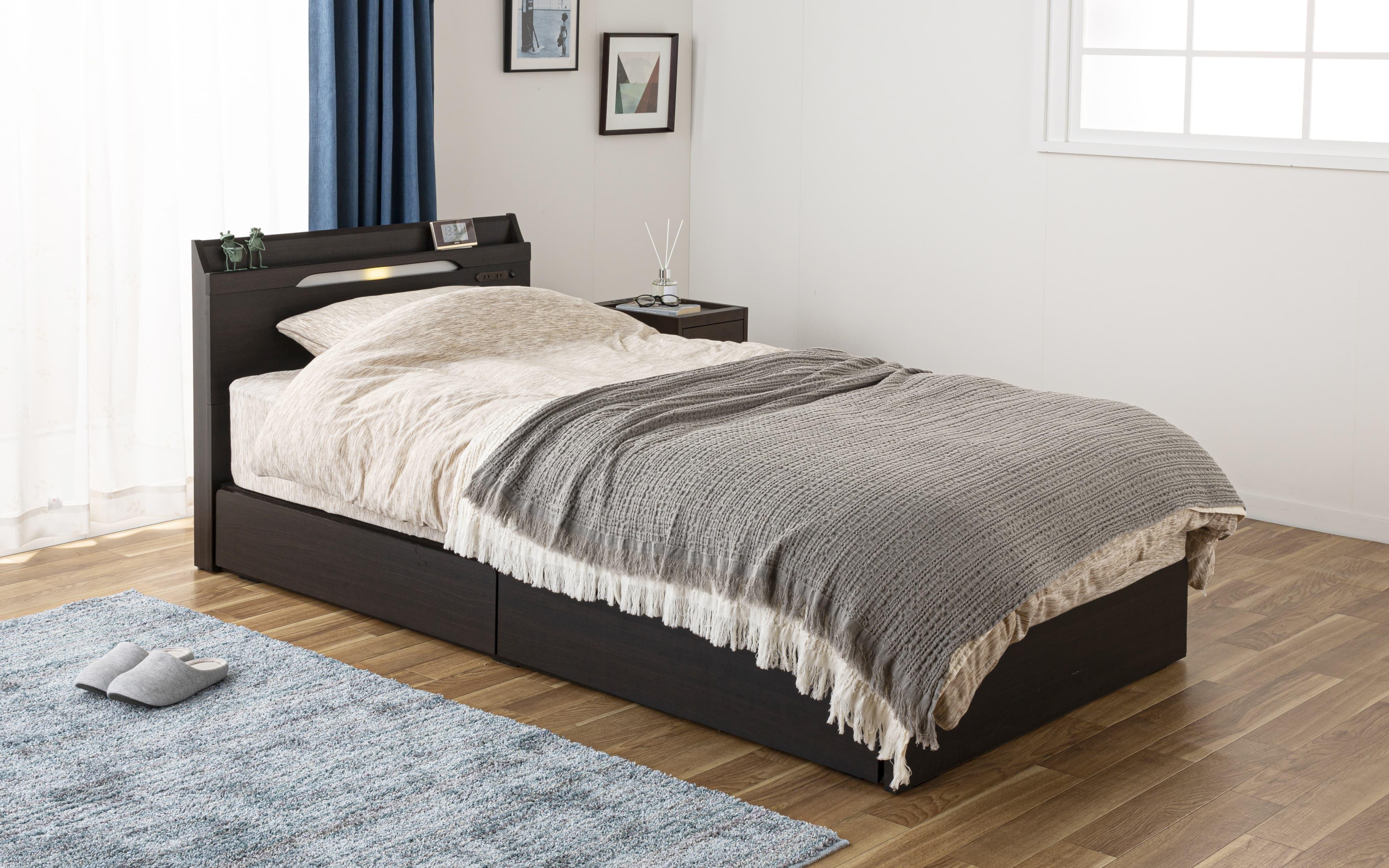 シングルベッド KK024�U DR210 2杯引 DBR(ダークブラウン)/OU-15S:シンプルデザインでオシャレな寝室を