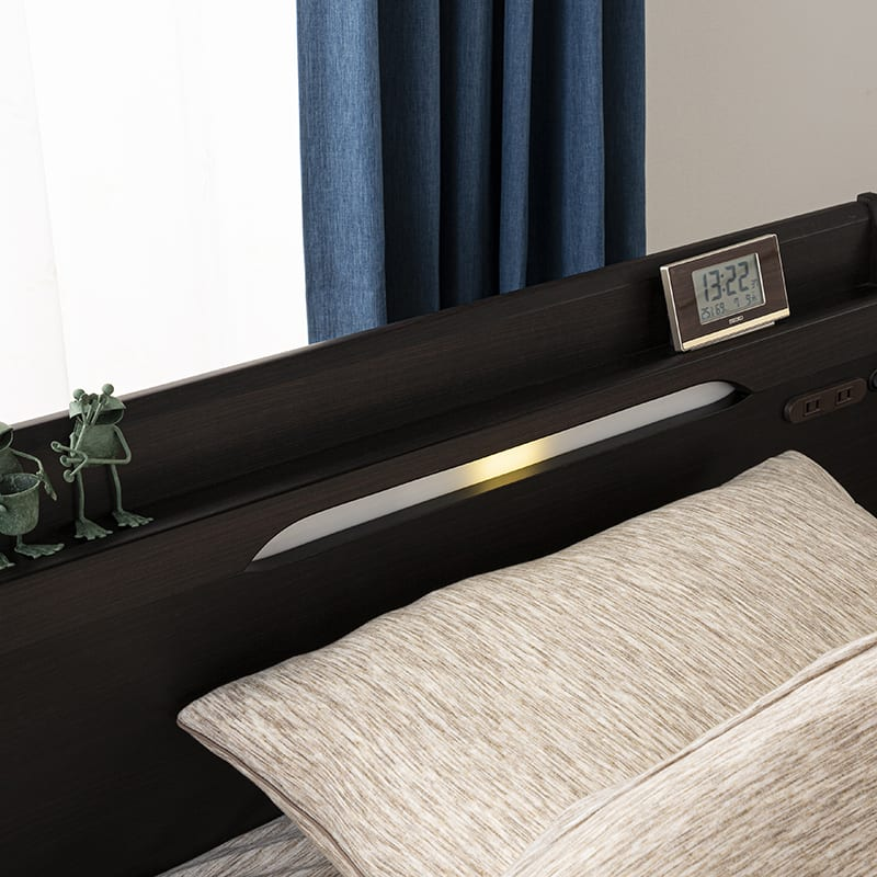 シングルベッド KK024�U DR210 2杯引 DBR(ダークブラウン)/OU-15S:LEDライト付き