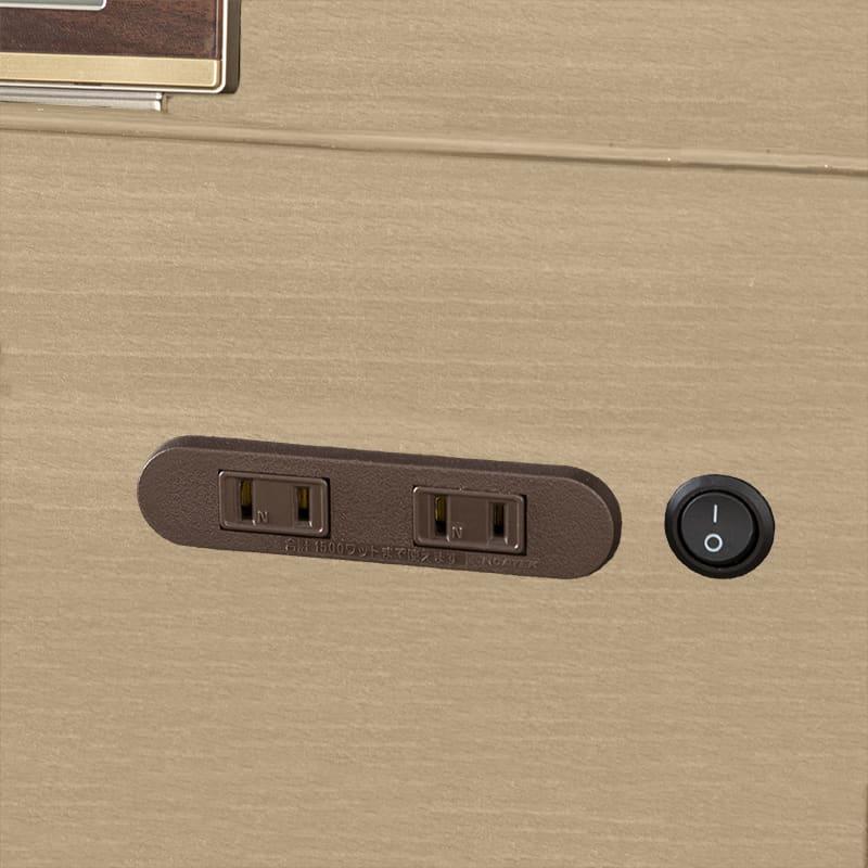 シングルベッド KK024�U DR210 2杯引 DBR(ダークブラウン)/OU-15S:2口コンセント付き