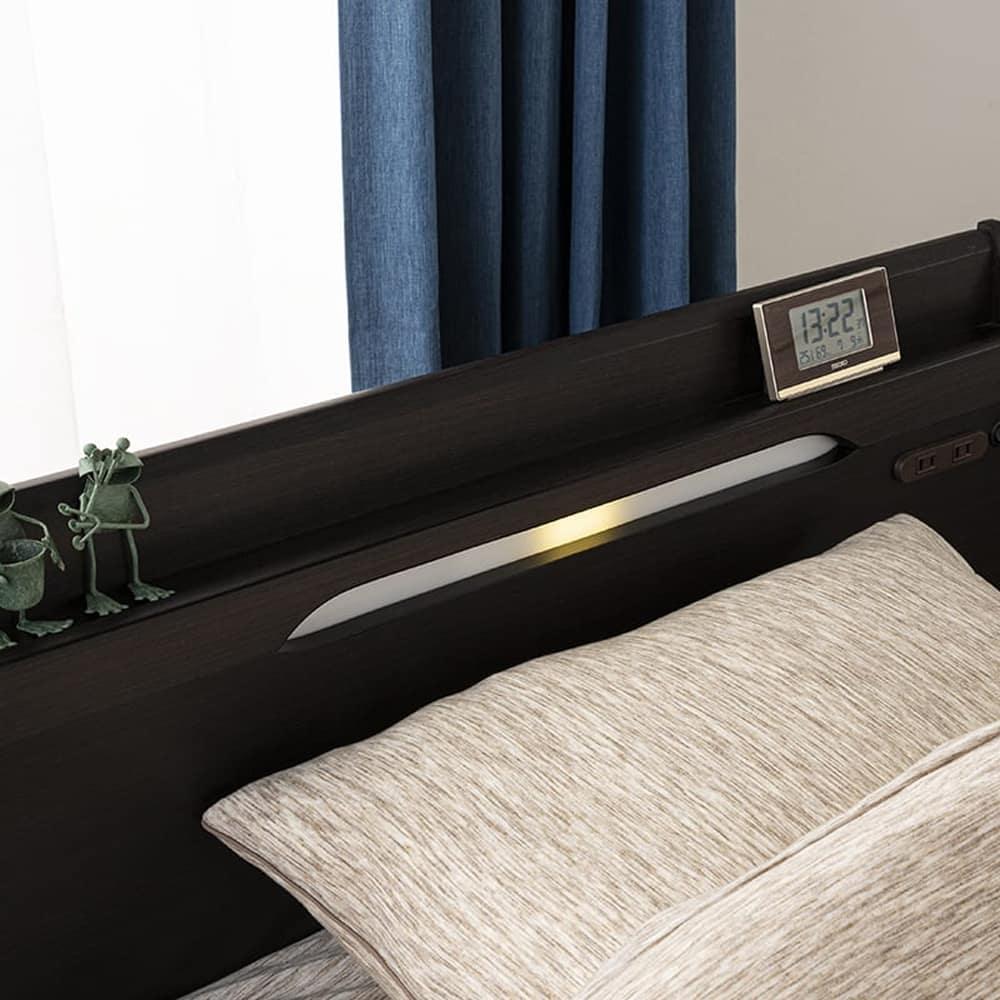 セミダブルフレーム KK024�U DR210 2杯引 NA(ナチュラルオーク)マットレス別売:LEDライト付き