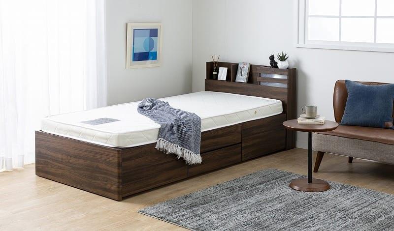 シングルチェストベッドフレーム パリス�UNA【マットレス別売り】:大容量の収納ベッド