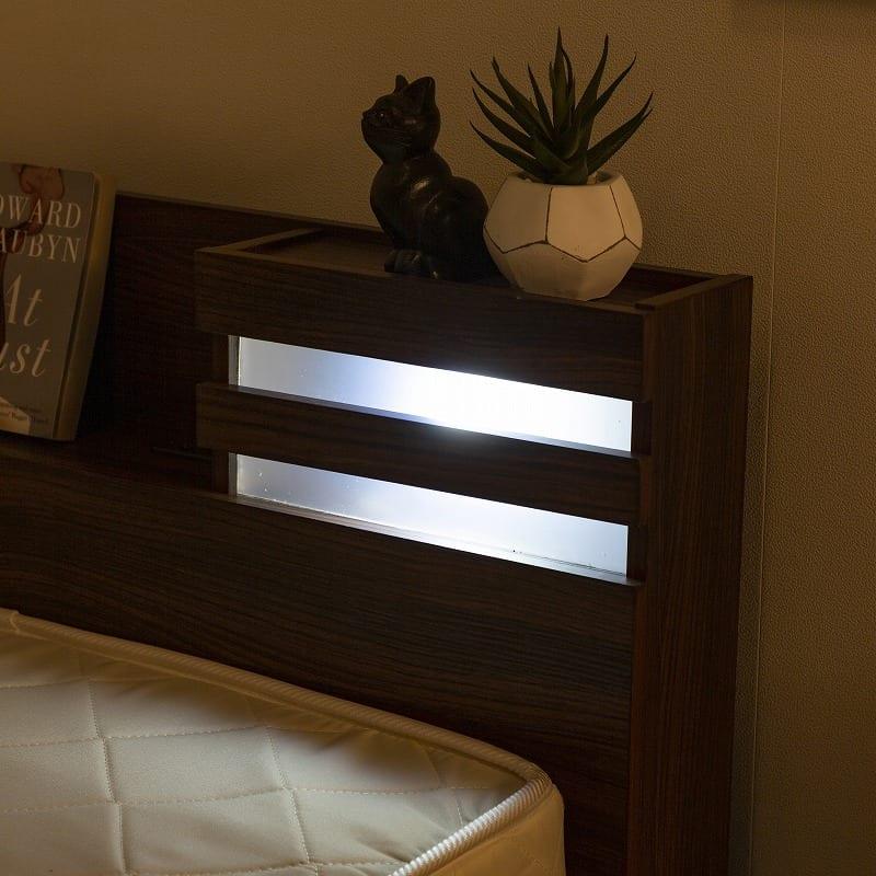 シングルチェストベッドフレーム パリス�UNA【マットレス別売り】:LED照明付きで安心