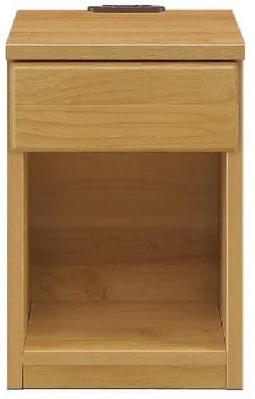 ナイトテーブル30 スキニ NA:スライドカバー付き2口コンセント(1500W)完備