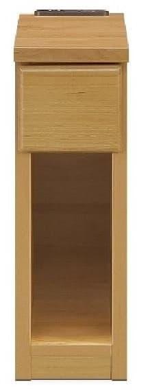 ナイトテーブル15 スキニ NA:スライドカバー付き2口コンセント(1500W)完備