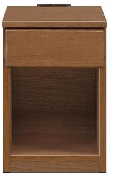 ナイトテーブル30 スキニ BR:スライドカバー付き2口コンセント(1500W)完備
