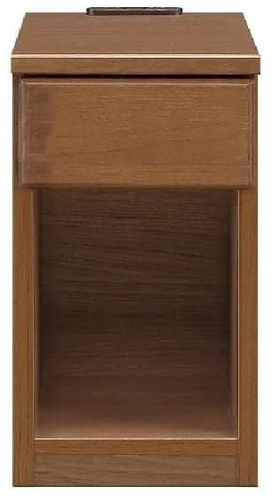 ナイトテーブル25 スキニ BR:スライドカバー付き2口コンセント(1500W)完備
