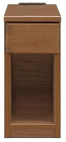 ナイトテーブル20 スキニ BR:スライドカバー付き2口コンセント(1500W)完備