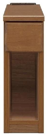 ナイトテーブル15 スキニ BR:スライドカバー付き2口コンセント(1500W)完備