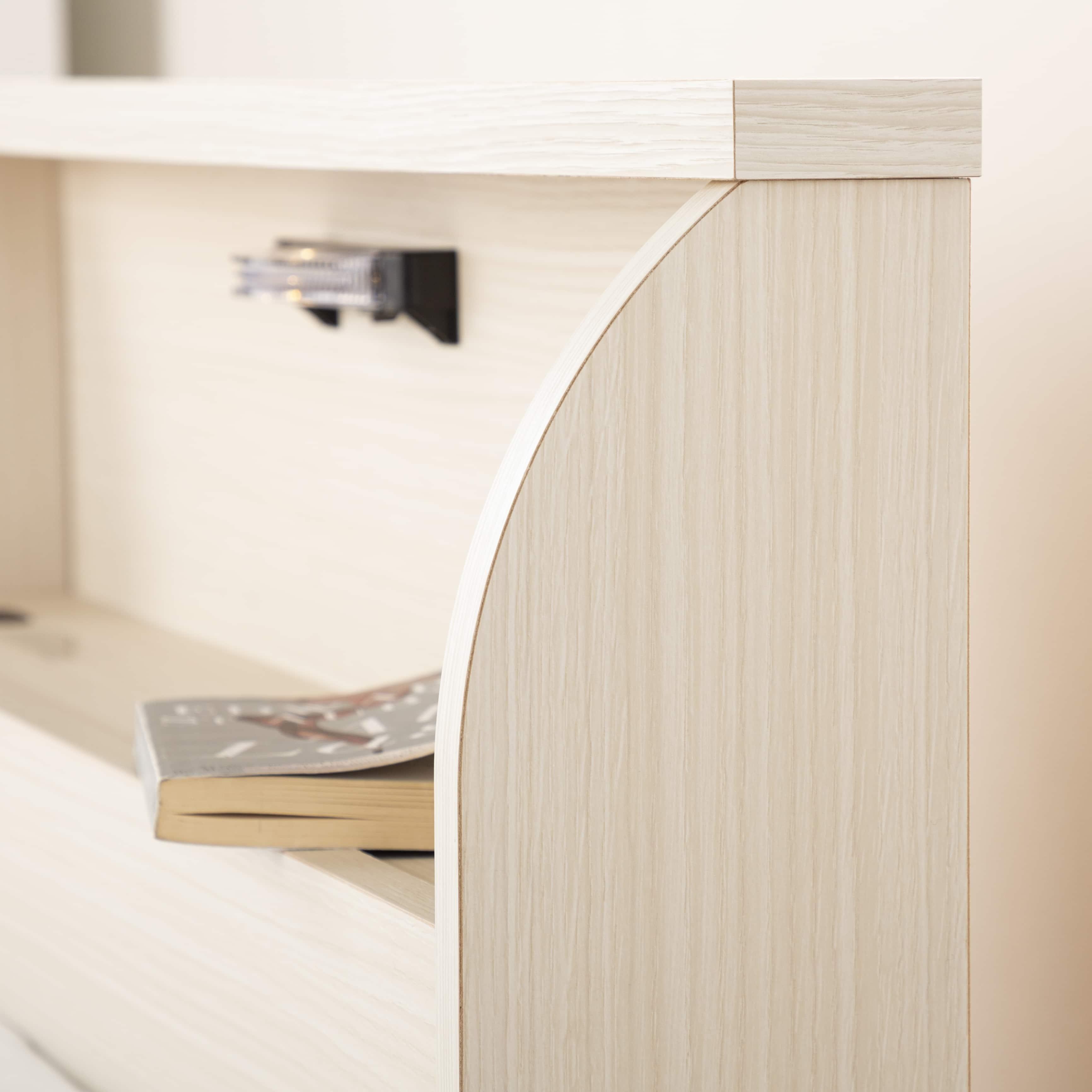 シングルベッド コスモプラス�U/BO−030 ウォールナット:小物を置けるヘッドボード