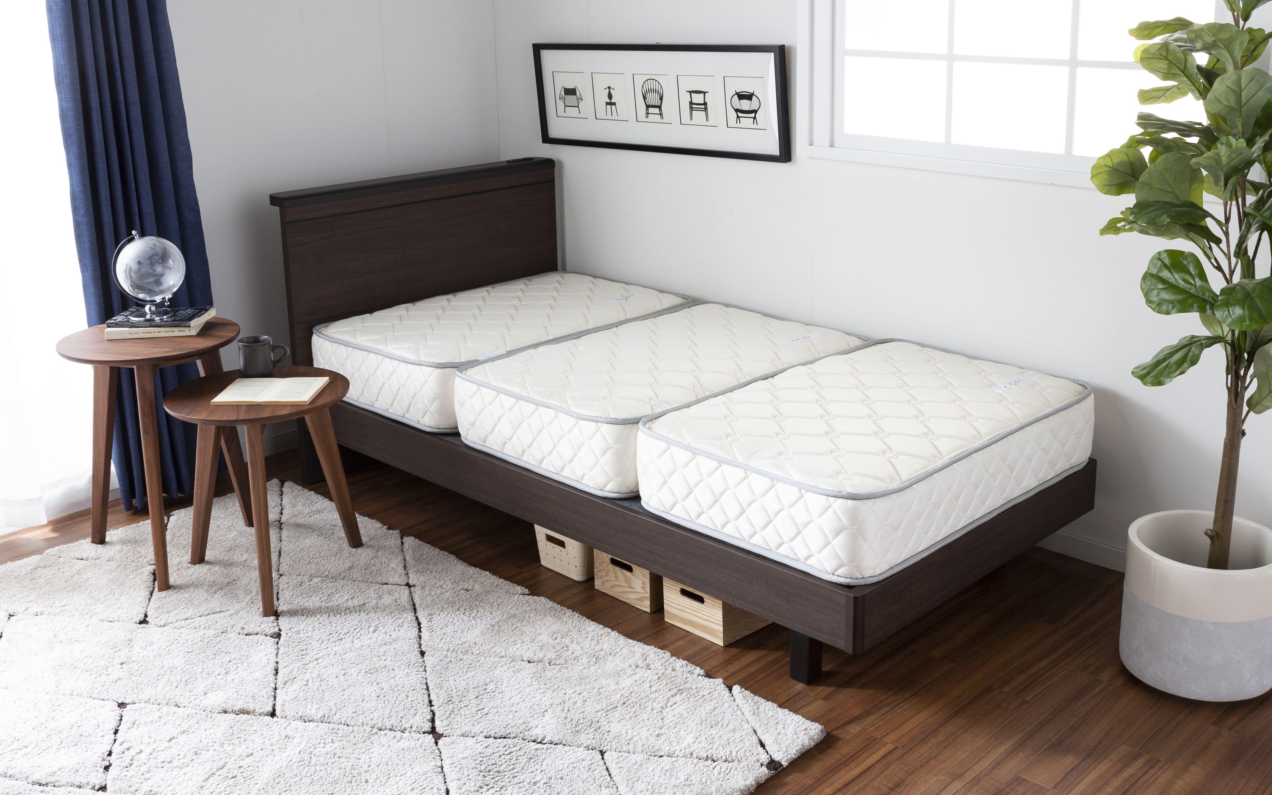 シングルマットレス シングルマットレス ONE TWO SLEEP 002(HHH)スタンダード:3分割仕様でお掃除も片付けもラクラク♪