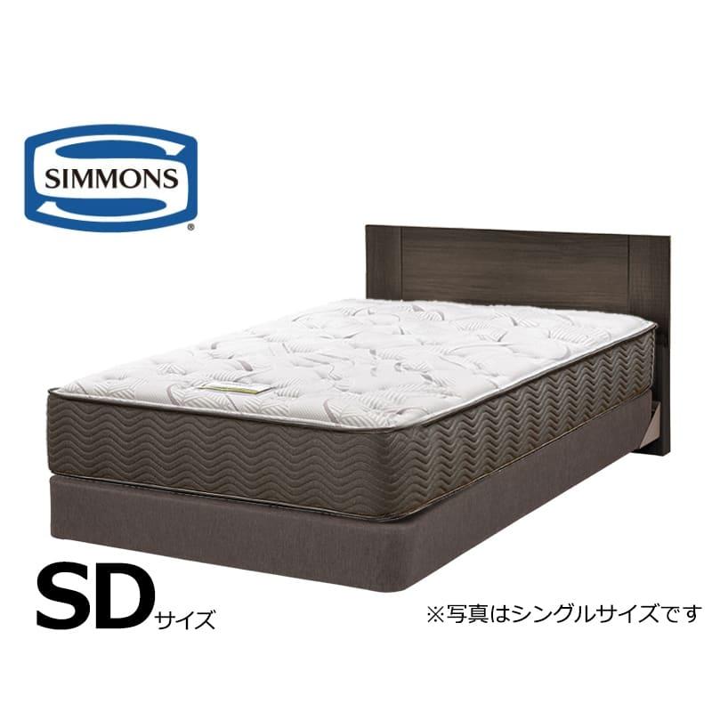 シモンズセミダブルベッドジェシルDC+7.5インチエグゼクティブSFダーク:ホテルスタイルのスクエアなヘッドボードデザインです。