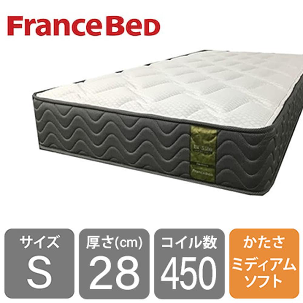 フランスベッド シングルマットレス LT−5500S PW ミディアムソフト:高密度スプリングに羊毛綿を入れて通気性抜群