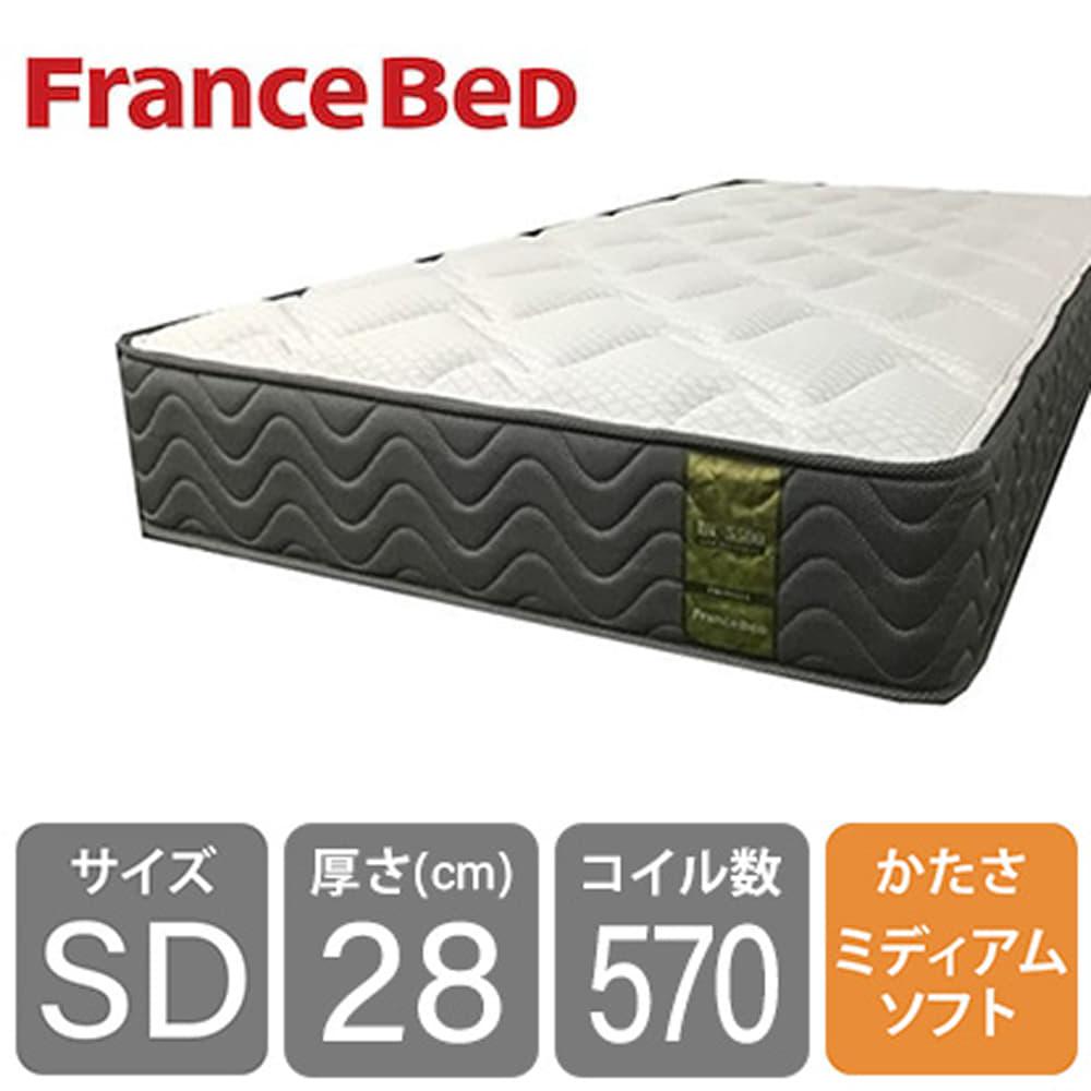 セミダブルマットレス LT−5500S PW ミディアムソフト:高密度スプリングに羊毛綿を入れて通気性抜群
