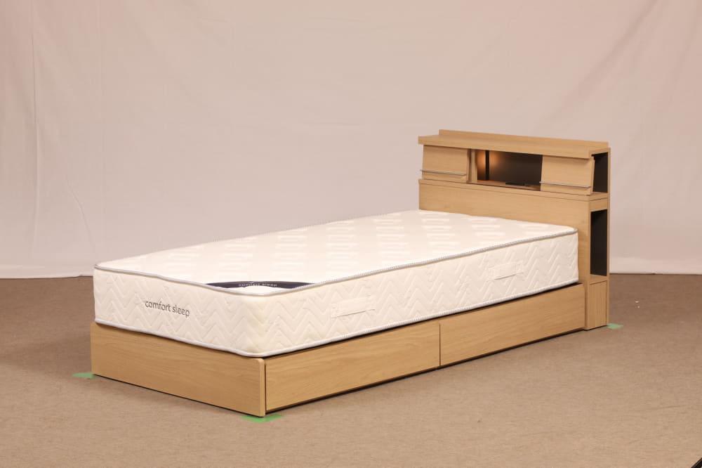 セミダブルフレーム NS−001 DR210:間接照明でモダンな印象を与えるヘッドボードデザイン