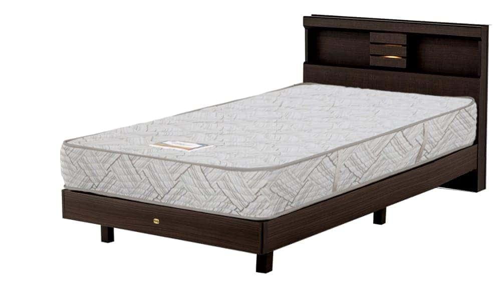 【ネット限定】シングルベッド クルス�UシェルフST桐床板/6.5インチAB17003:マットレスは感触の良いニット生地採用(シモンズベッド)