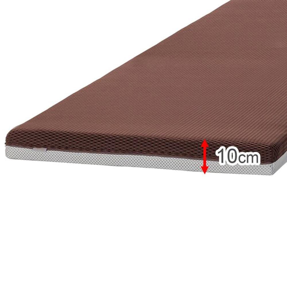 【ニトリ】 セミダブル薄型マットレス プロセル ブラウン:三次元スプリング構造体マットレス