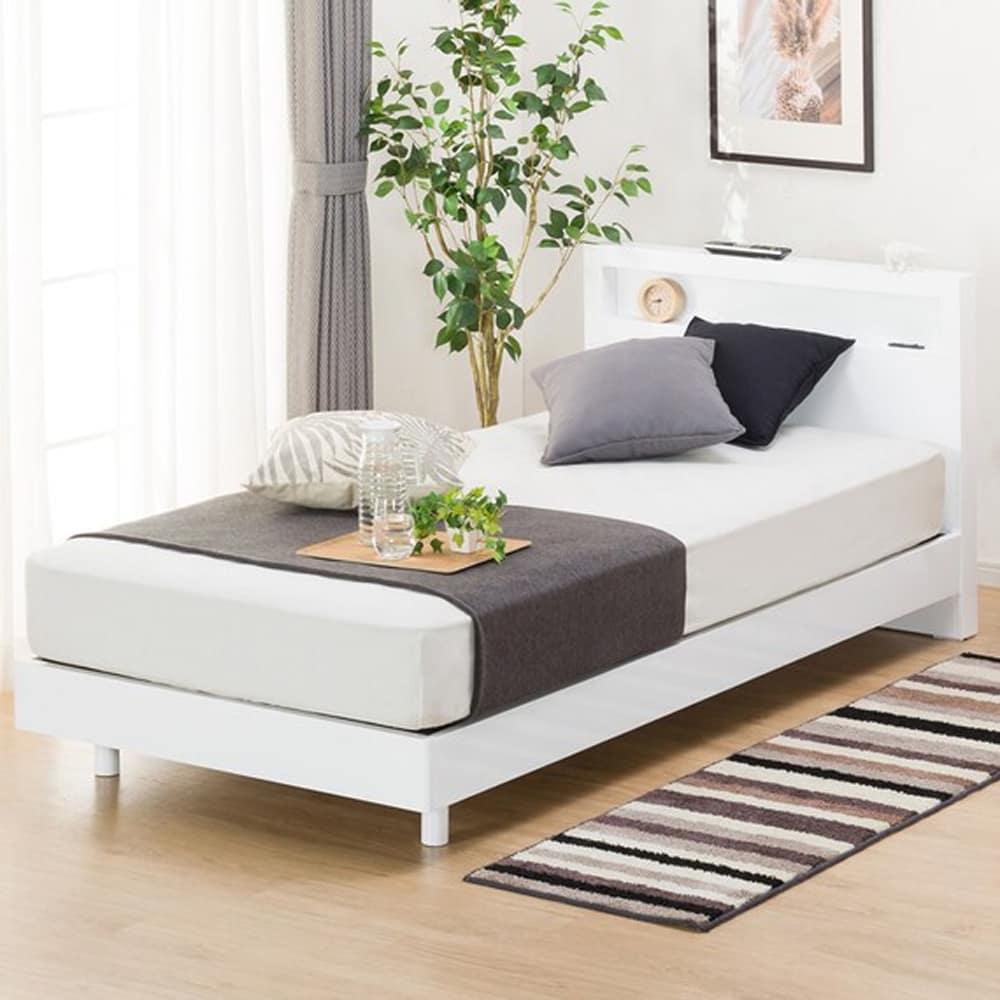 【ニトリ】 シングル宮付きベッドフレーム ヘンリック WH ホワイト:LED照明付きシンプルベッドフレーム