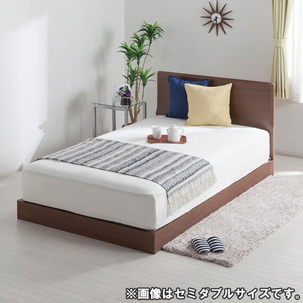 【ニトリ】 シングルフレーム メリッサ3−S(すのこ床板) H85 MBR LOW ミドルブラウン ※マットレス別売※:フラットなヘッドボードは壁にもぴったり付けられる直角型。