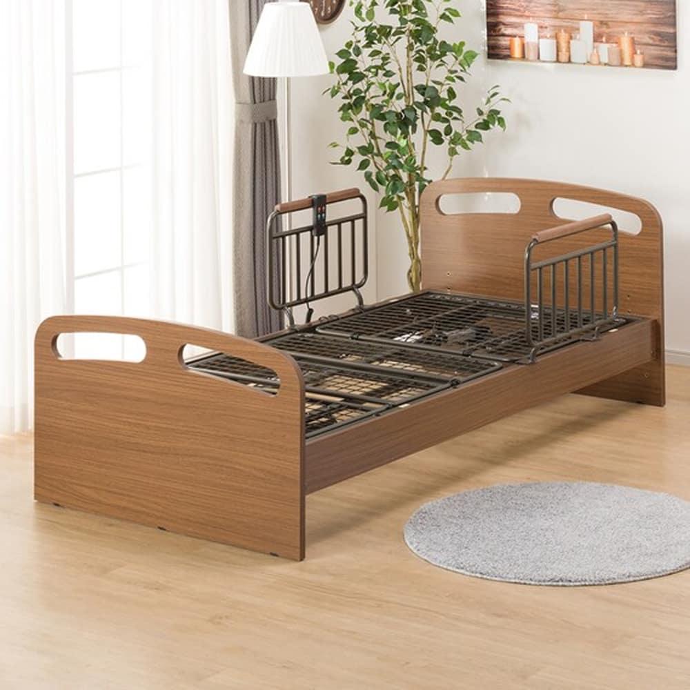 【ニトリ】 電動ベッド【非課税】ライズ2 2M−F ミドルブラウン:横になったまま操作ができる便利な手元コントローラー付き。