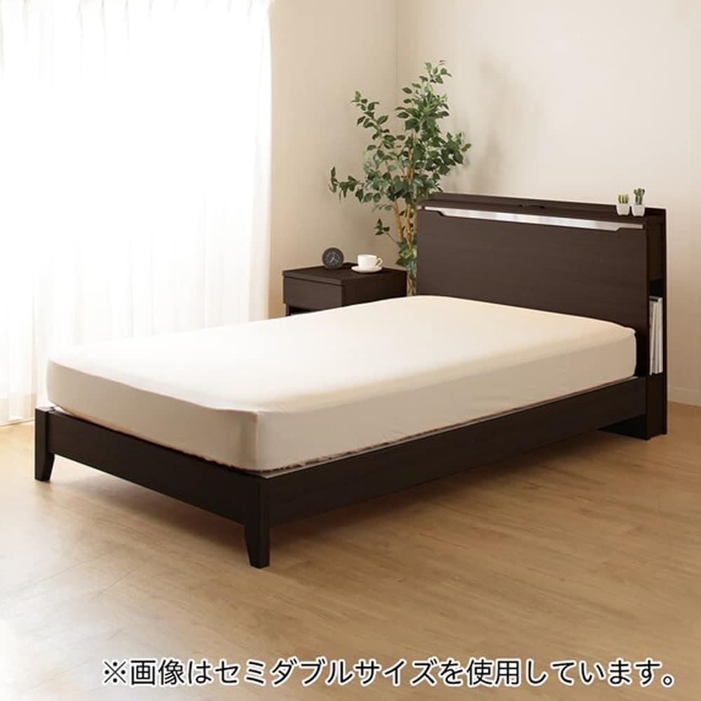 【ニトリ】 ダブル棚付ベッドフレーム コンソン LEG DBR ダークブラウン:シンプルなデザインに便利な機能付き